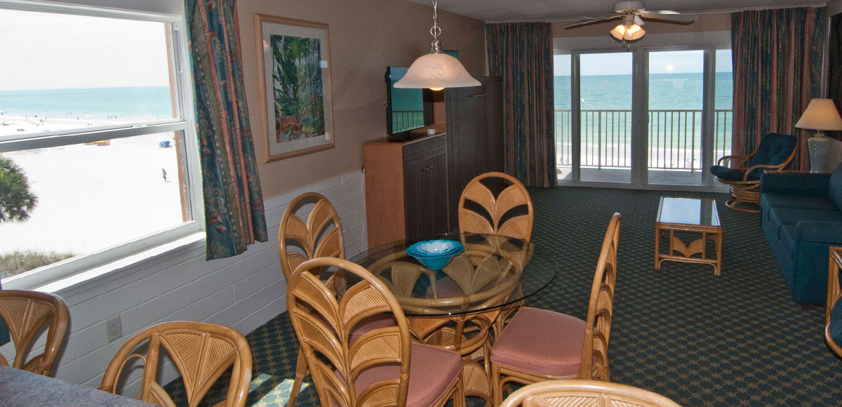 Every unit features a balcony with a view of the Gulf of Mexico's Treasure Island beach.